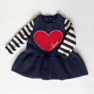 Gap Baby Heart Stripe Peplum Sweater Dress